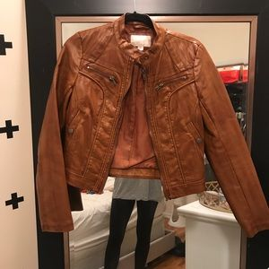 Cognac faux leather jacket from target